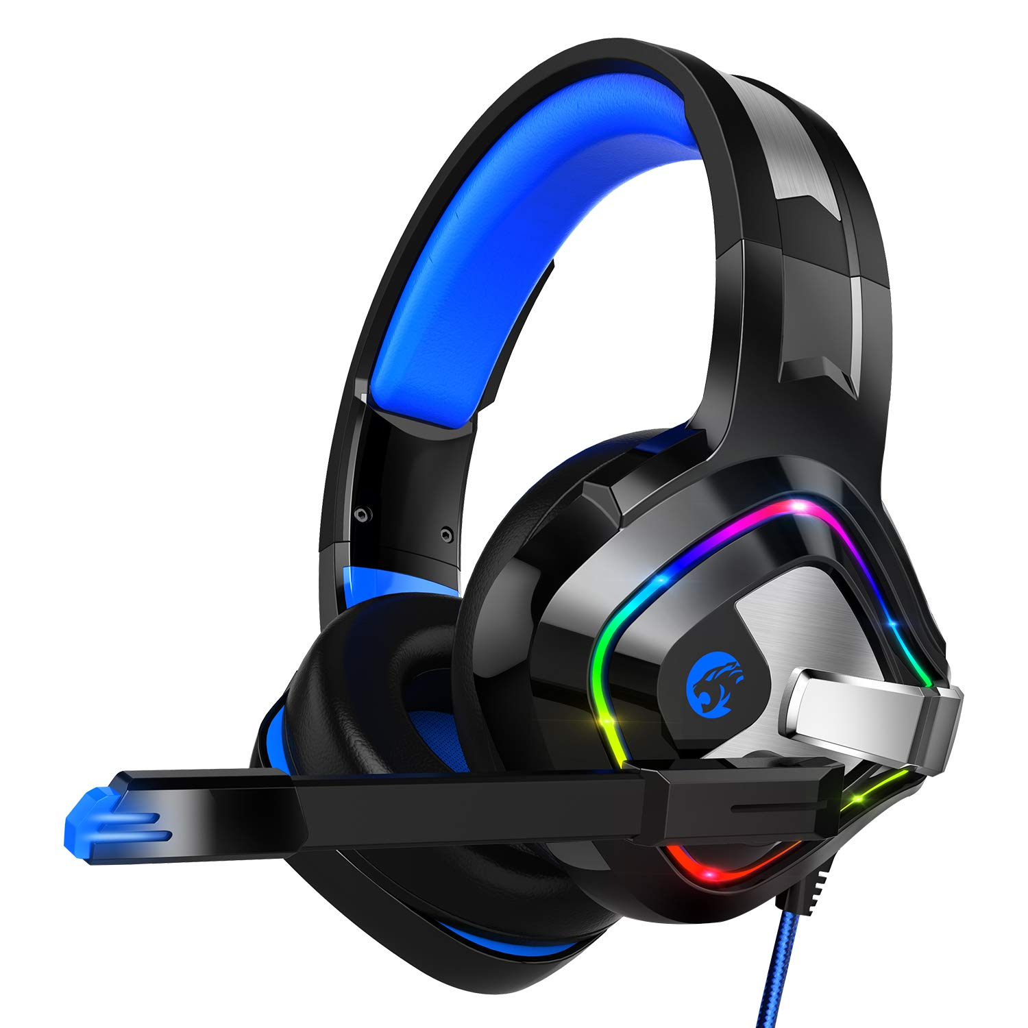 ZIUMIER Gaming Headset PS4 Headset, Xbox One Headset with Noise Canceling Mic RGB Light, PC Headset with Stereo Surround Sound, Over Ear Headphones for PC, PS4, Xbox One, Laptop