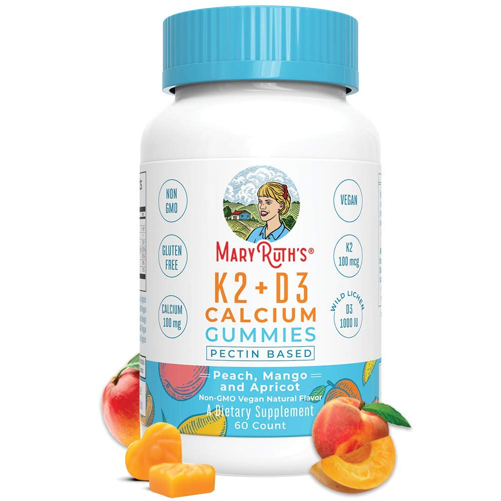 Organic Vegan Vitamin K2+D3 Calcium Gummies (Plant Based) by MaryRuth Chewable, Non-GMO, Gluten Free for Men, Women & Kids (60 Count) by MaryRuth Organics