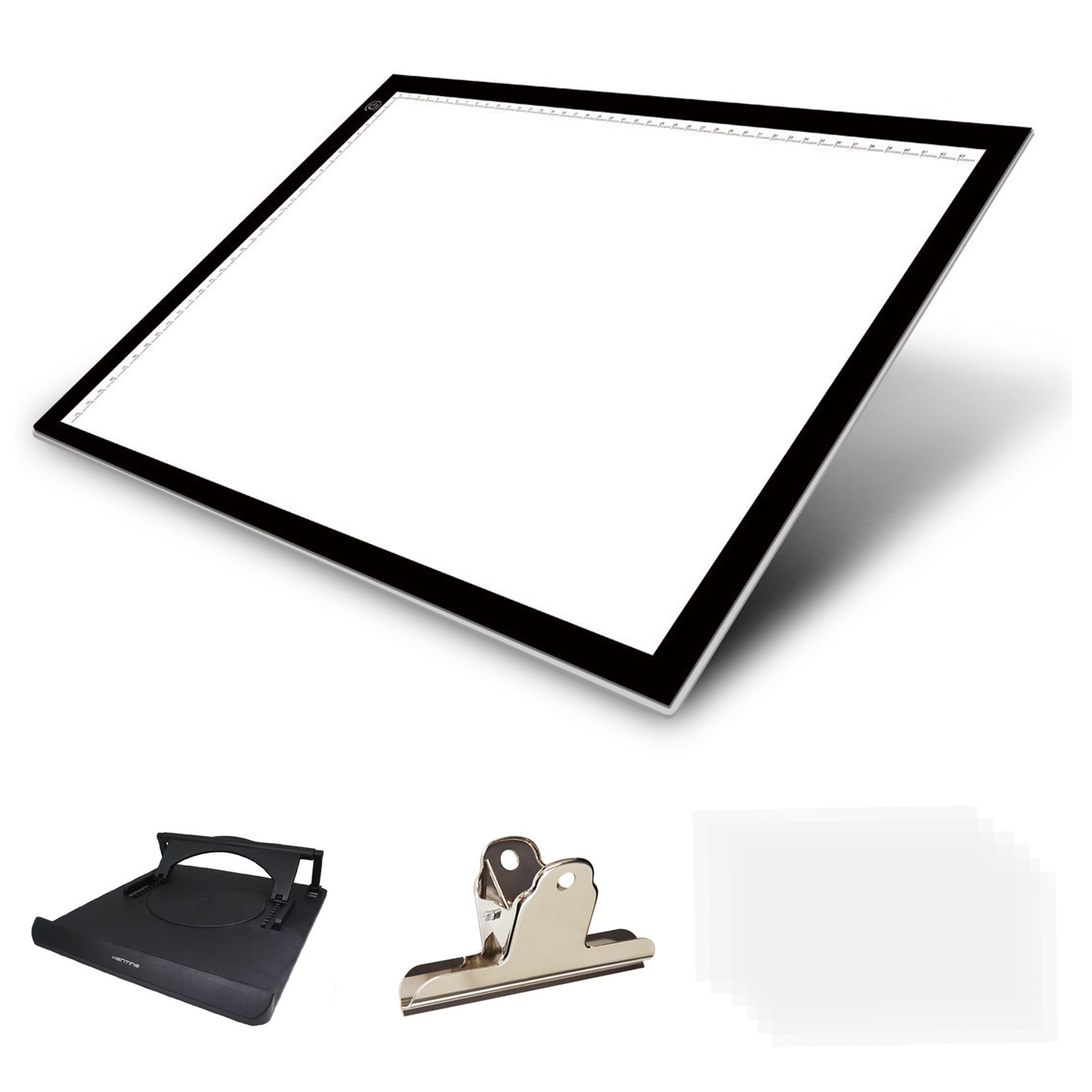 Huion Thin light PAD 5mm LED Drawing Copy Tracing Stencil Board Table Tattoo Pad with Holder, Drawing Board Clip and 6 Piece racing Paper (A3H Holder)