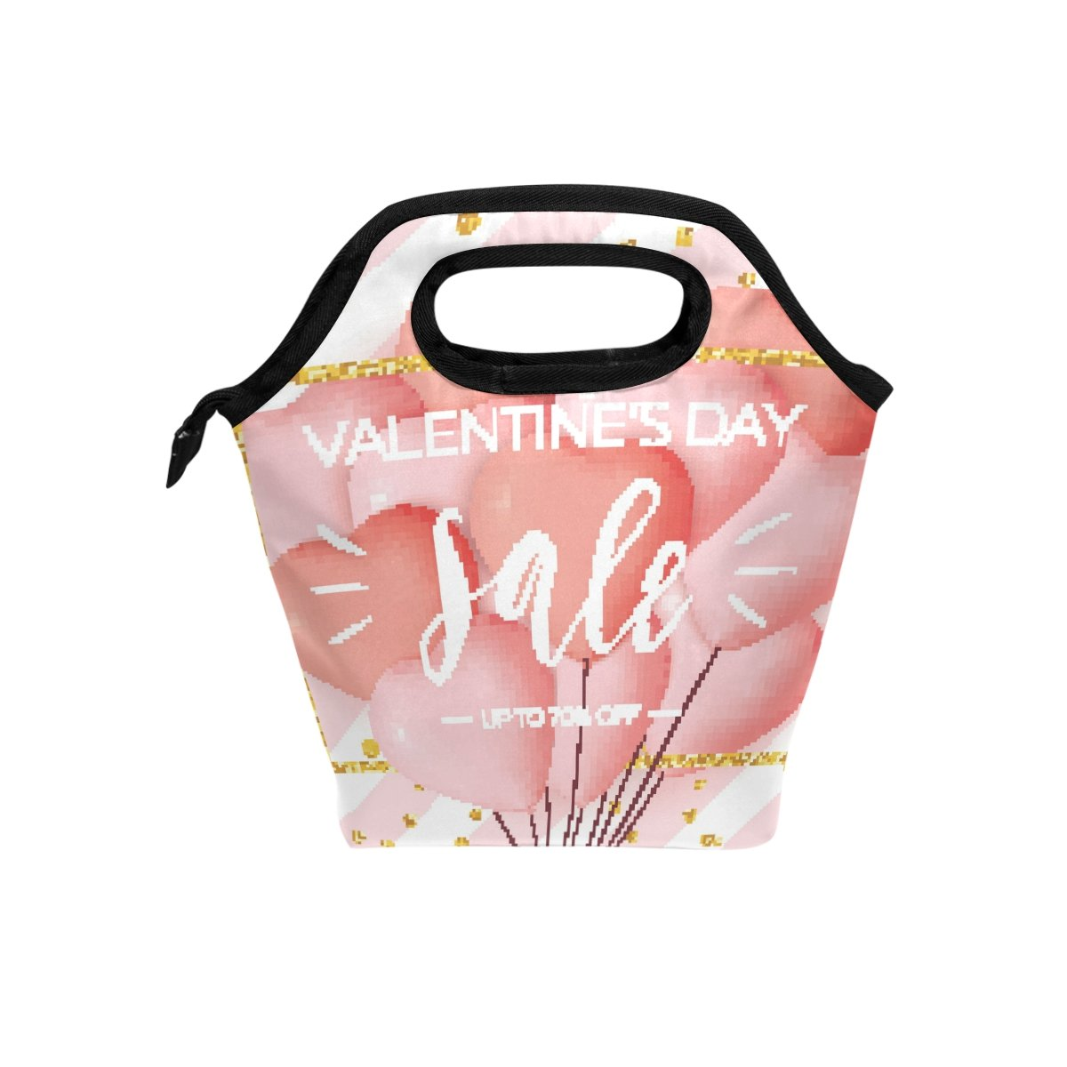 JSTEL Happy Valentine's Day - Bolsa de almuerzo, bolsa de almuerzo, contenedor de alimentos para gourmet Bento, bolsa térmica para viajes, picnic, escuela, oficina bolsa térmica para viajes