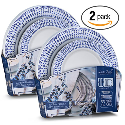 Laura Stein Designer Tableware Midnight Blue Series Hot Stamp Combo Plastic Disposable Wedding Plates & Party Plates Sets (64 Piece Set (32 Sets), Blue & Silver)