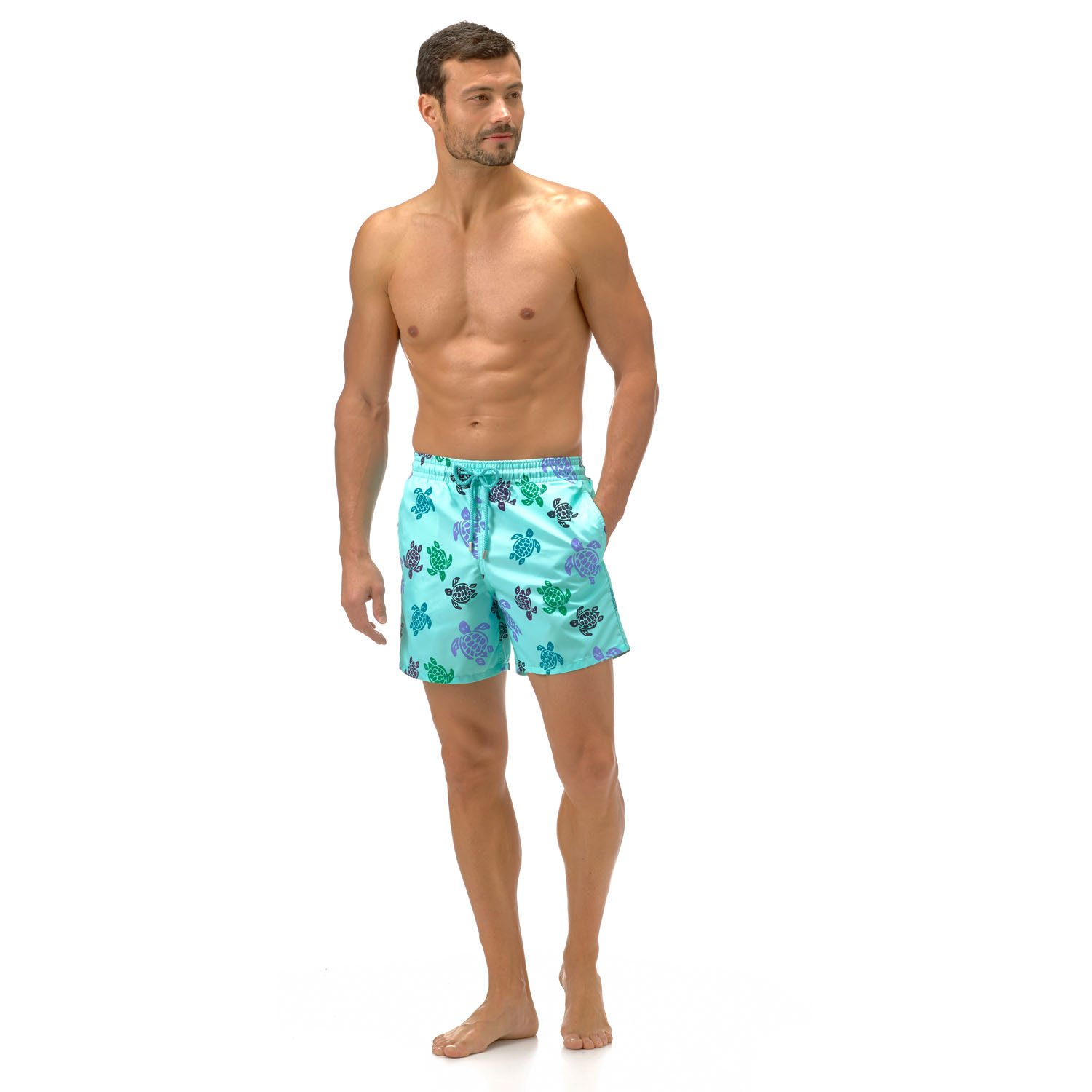 VILEBREQUIN Men's Moorea Pattern Swim Trunk, Lagoon, Large