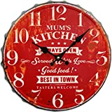 Round Decorative Metal Wall Clock Retro Antique Look Bottle Cap Mums Kitchen 3D Quartz movement 13×13 Inches