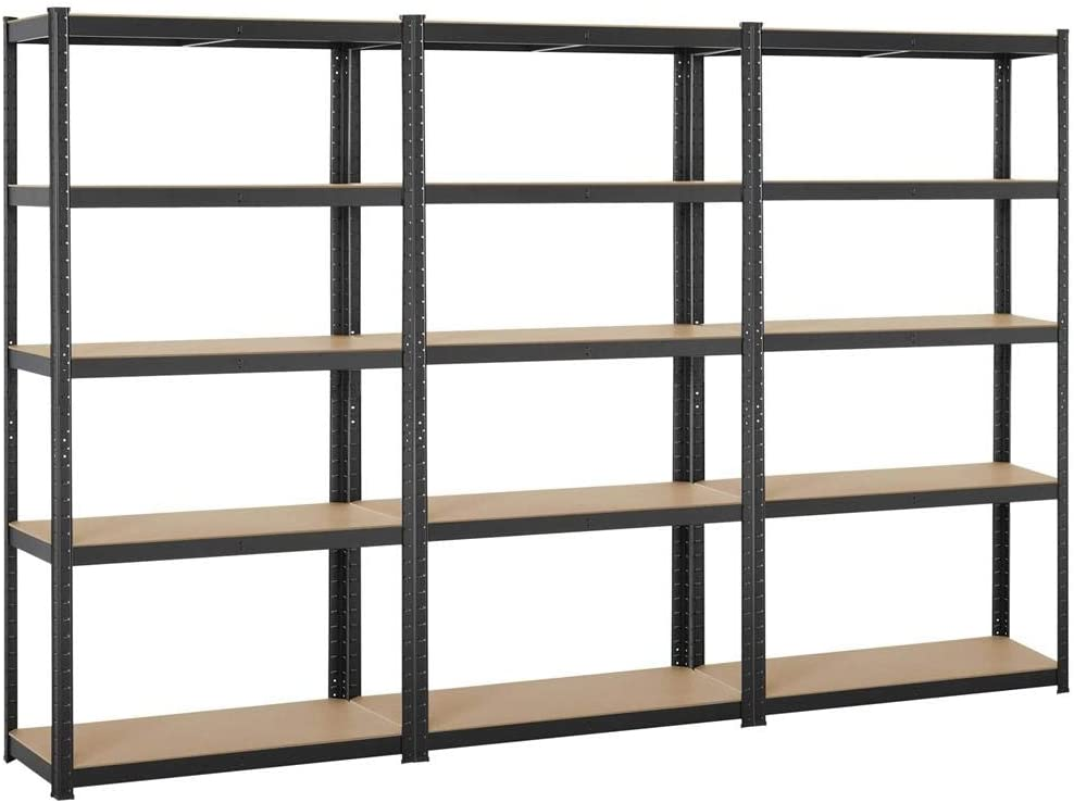 Yaheetech Black 5-Shelf Steel Shelving Unit Storage Rack Adjustable Garage Shelves Utility Rack Display for Home Office Garage 71in Height, 3 Packs