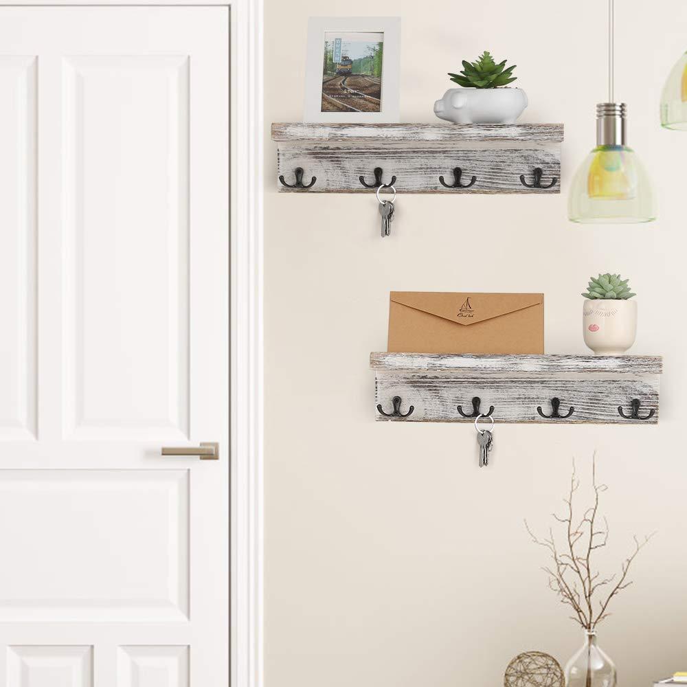Amazon.com: Perchero de pared con estante de madera para ...