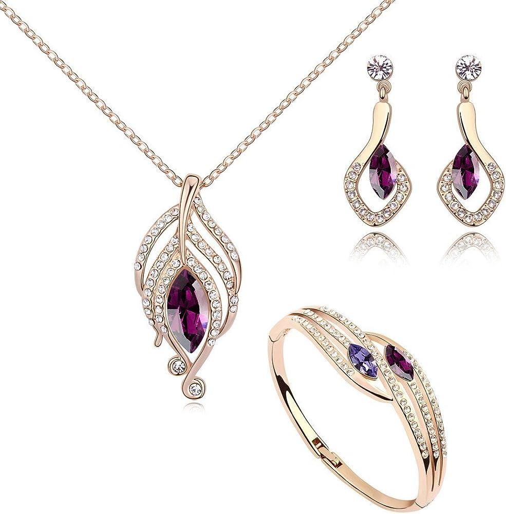 Crystals from Swarovski Amatista simulada Juego de joyas Collar con colgante 45 cm Pendientes Bangle 18k Chapado en oro rosa
