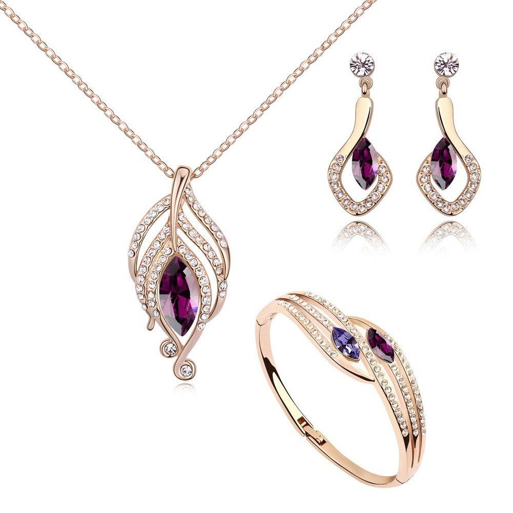 Crystals from Swarovski Amatista simulada Juego de joyas Collar con colgante 45 cm Pendientes Bangle 18k Chapado en oro rosa Crystalline CR-AZ-0336