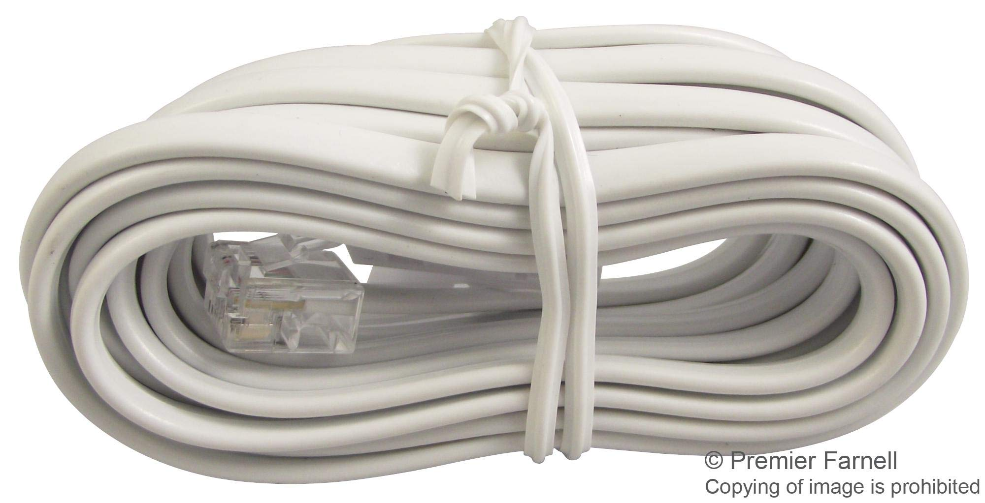 31040R - Telephone Modular Cable, BT431A Plug to RJ11 Plug, 9.8 ft, White (Pack of 50) (31040R)