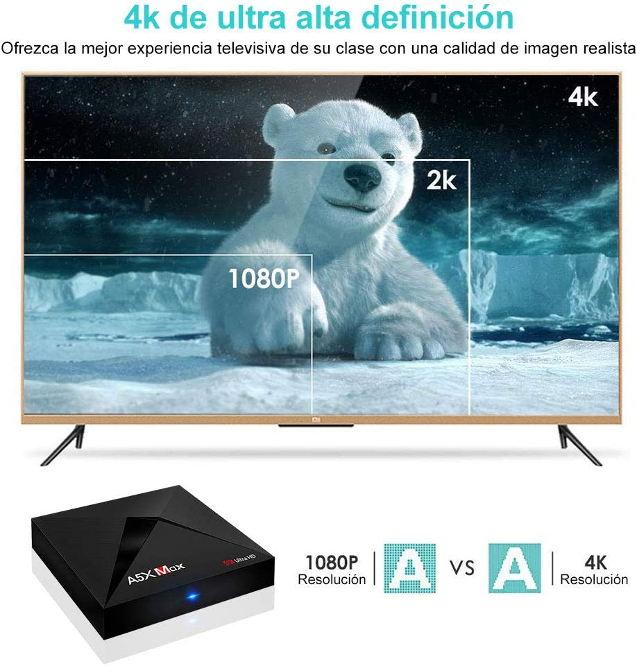 TV Box Android 8.1 Caja de TV Inteligente Sidiwen A5X MAX 4GB ...