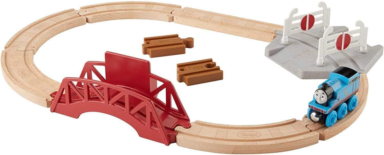 Thomas & Friends Bridge & Crossings Playset, Wood Track Set with Push-Along Thomas Train Engine for preschool kids