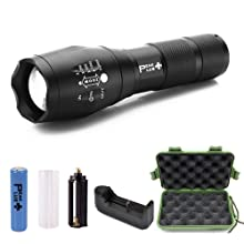 PeakPlus Zoomable Adjustable Focus 5 Modes Tactical Flashlight