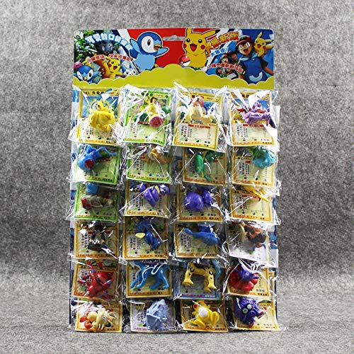(LyZim 24Pcs/Lot Ball Figures Toys 2-6Cm Ball Charizard Eevee Bulbasaur Suicune PVC Mini Model Toys with Cards -Multicolor Complete Series Merchandise)