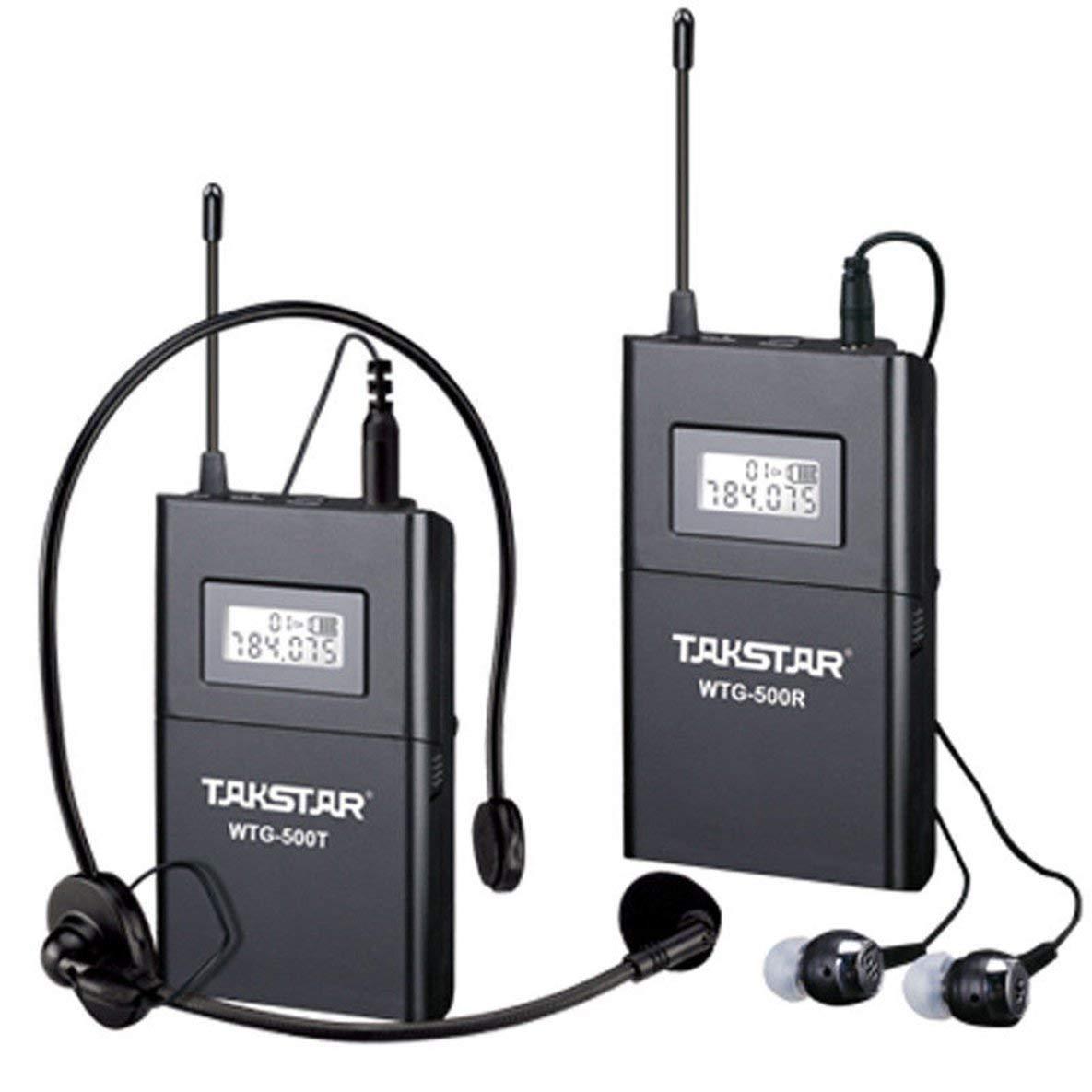 MolySun プロのWTG-500 UHFバンドツアーガイド教育用UHF無線システム機器1送信機1受信機黒 黒 B07P19VR8X