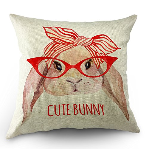 - Moslion Bunny Pillow Decorative Throw Pillow Cover Case Cute Animal With Glasses Bow Tie Rabbit Pillow Case 18 x 18 Inch Cotton Linen Cushion Cover for Sofa Bedroom Red White