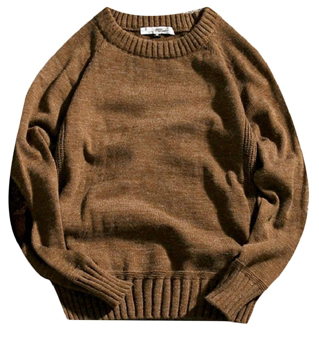 Keaac Men Long Sleeve Cable Knit Crew Neck Pullover Sweater