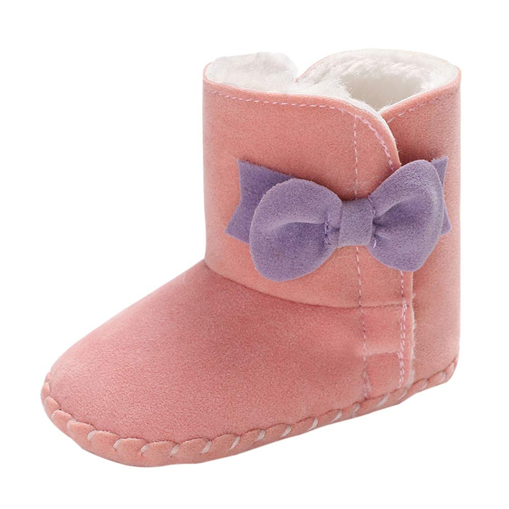 Warm Snow Boots Toddler High Gang Shoes 0-18 Months Bowknot Fur Lining Soft Sole Pure Color Prewalker Shoes