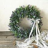 Artificial Leaf Wreath with Bow Door Hanging Wall Window Decoration Wreath Holiday Festival Wedding Decor, Style B B