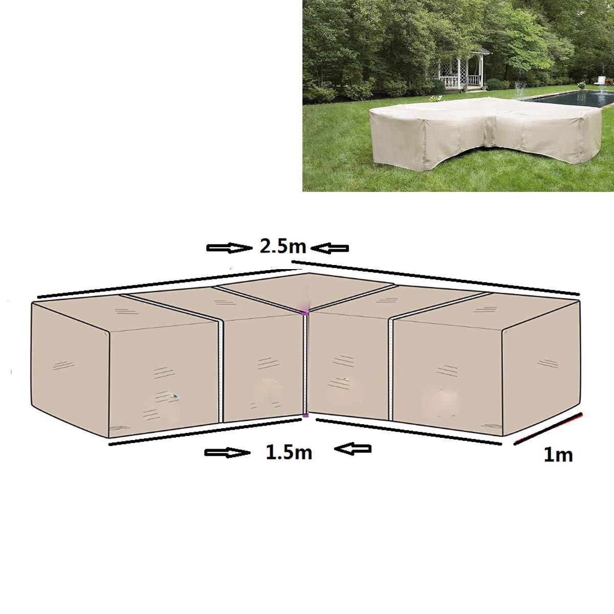 dDanke Patio L Shape Sofa Covers Dustproof Furniture Waterproof Cover Upper Length 2.5M & Lower Length 1.5M Beige