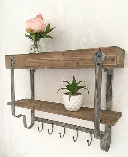 Estantería de pared de madera y metal, estilo industrial, estilo vintage, para cocina, gancho de almacenamiento de especias