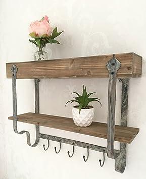 etagere murale en bois et en metal style vintage industriel avec crochet pour serviette de cuisine etagere a epices