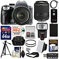 Pentax K-70 All Weather Wi-Fi Digital SLR Camera & 18-135mm WR Lens (Silver) with 55-300mm Lens + 64GB Card + Case + Flash + Battery + Tripod + Kit