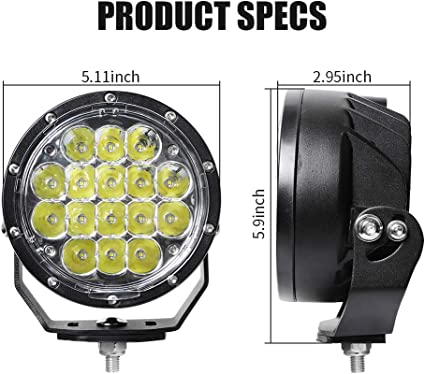 Exzeit 7 Inch Led Driving Lights Round 128W 20480 Lumens Waterproof Fog Lights Driving Lights for Jeep Wrangler Trucks Toyota Pickup GMC SUV
