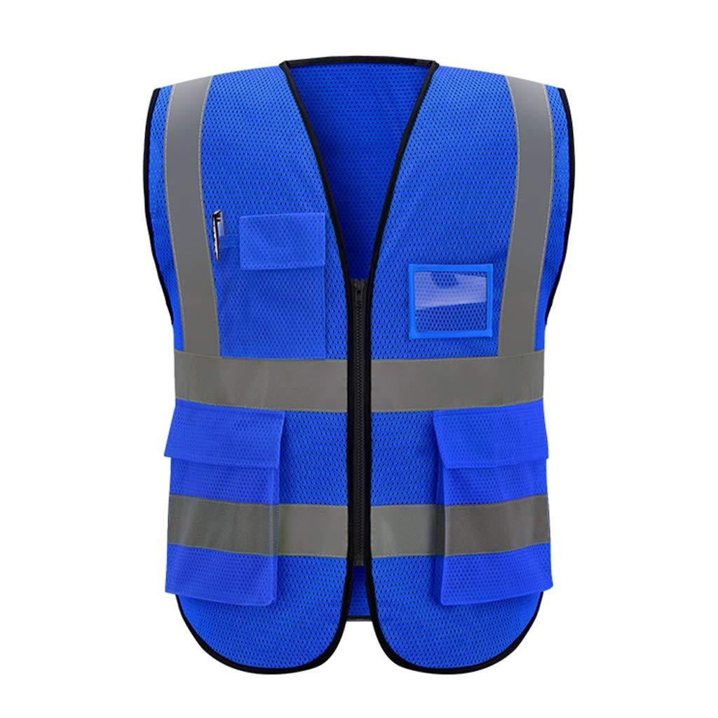 Gilet ad alta visibilit/à blu Gilet da lavoro traspirante a rete multi-taschino Gilet di sicurezza riflettente Viaggio di sicurezza notturna Unisex Size : XL