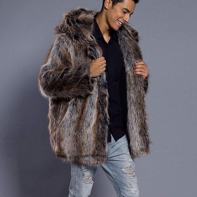 Amazon.com: DMZ Mens Leopard-Print Faux Fur Warm Thick Coat Parka Outwear Cardigan (L, Khaki): Kitchen & Dining