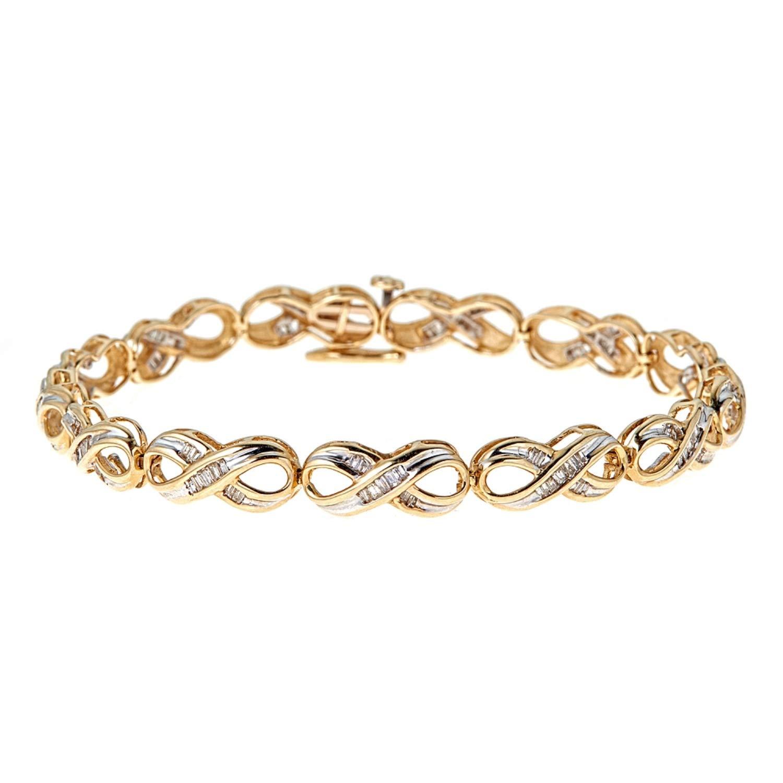 Genuine 1 Carat Natural Baguette Diamond VS1 Infinity Tennis Bracelet In 14K Yellow Gold by Diamond Princess
