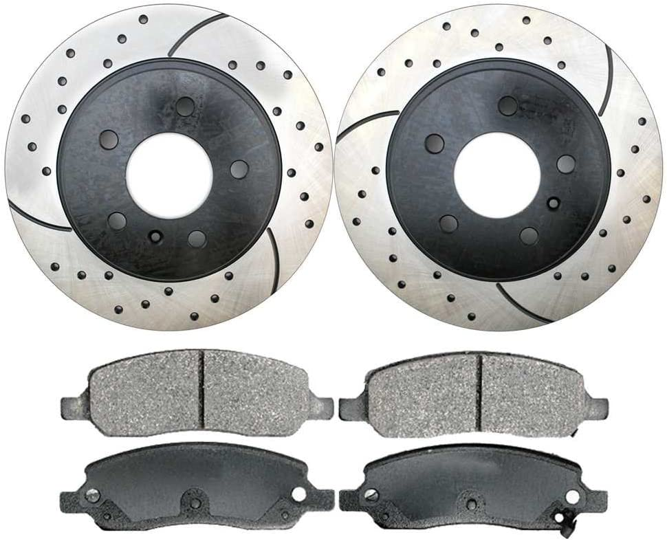Prime Choice Auto Parts SCDPR65129651291172 2 Rear Performance Rotors and 4 Ceramic Brake Pads