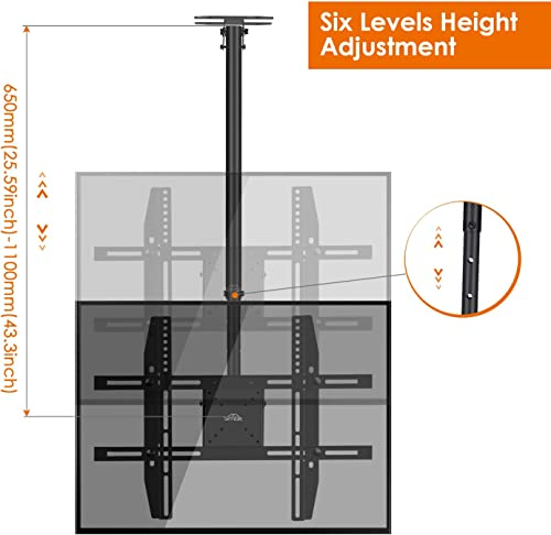 SIMBR Ceiling TV Mount for 22-75 TV Adjustable 6 Heights Tilting Swiveling for LED, LCD, Plasma Flat Screen with VESA 600x400mm and 50kg 110lbs
