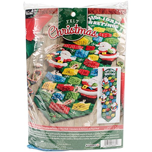 Bucilla Felt Applique Home Decor Kit, 14 by 34-Inch, 86685 Santa's Advent Calendar