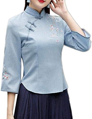 Energy - Camisa de Manga 3/4 Bordada Estilo Chino para Mujer: Amazon.es: Ropa y accesorios