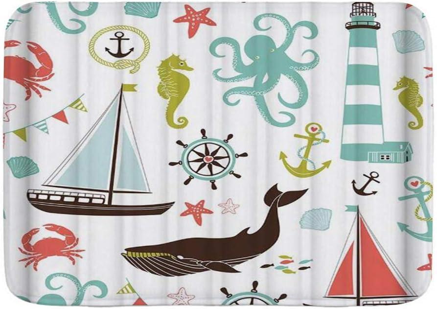 CHASOEA Soft Bath Mat,Beach Theme Boat Print,Non Slip Backing Microfiber Bath Rugs,29.5 x 17.5 Inches