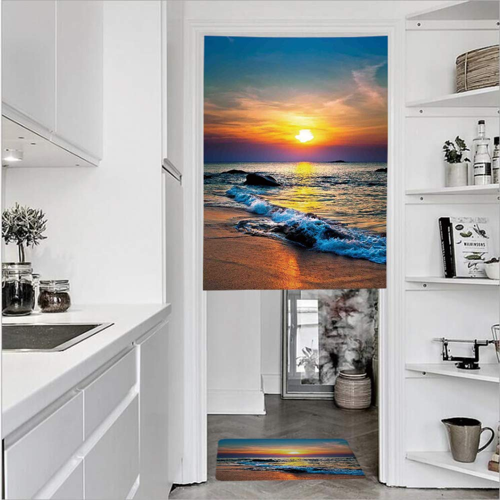 "3D Printed Linen Textured French 1 Panel Door Curtains and 1pcs Doormat Kitchen Mat Rug,Sunbeams of the day over the Sea Waves ReflectionsSingle Panel door curtain 35.4""w by 51.2""h + 1 PCS Doormat 15."