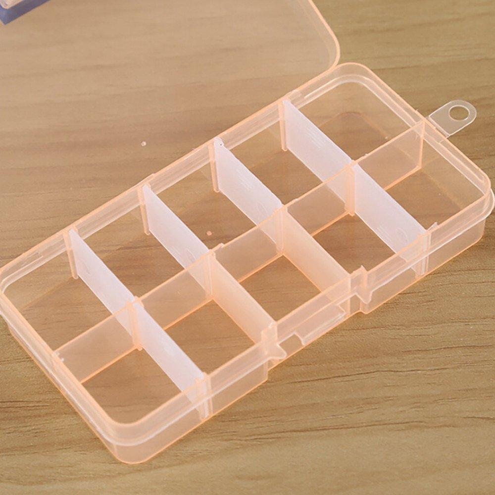 Tuscom Multi-Grid 10 Slots Adjustable Storage Box Case|for Skin Care Cosmetic Small Item Jewelry Craft Beads Storage Rack| 13 x 6.5 x 2 cm (Orange)