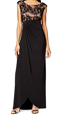 Connected Apparel Womens Plus Mesh Inset Ruched Evening Dress Black
