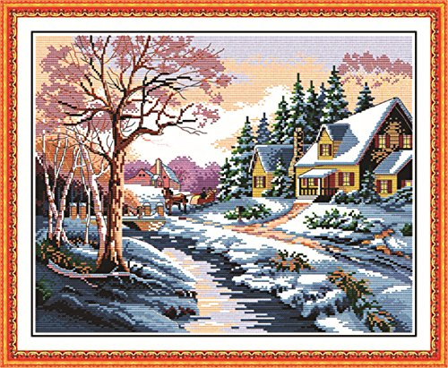 eGoodn Stamped Cross Stitch Kits Printed Pattern - Snowscape