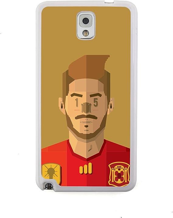 BuddiCase España Sergio Ramos cabeza de dibujos animados jugador de fútbol en relieve diseño estilo TPU + Plástico duro for Samsung Galaxy Note III 3 N9000 with americana boton pulgadas 2.3 insignia: