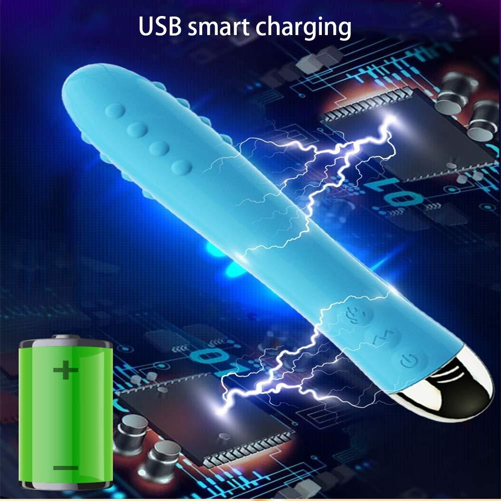 Masturbación vibrador-calefacción vibrador masturbación stick USB carga femenina masturbación masturbación femenina sexo salud 19 * Φ3cm,Blue f8841d