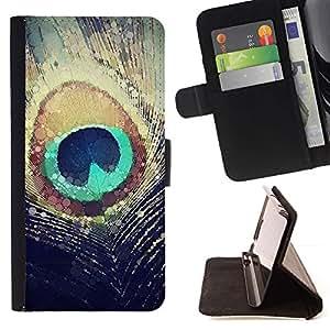 For Samsung Galaxy Note 5 5th N9200 Case , Pluma Sun iridiscente trullo- la tarjeta de Crédito Slots PU Funda de cuero Monedero caso cubierta de piel