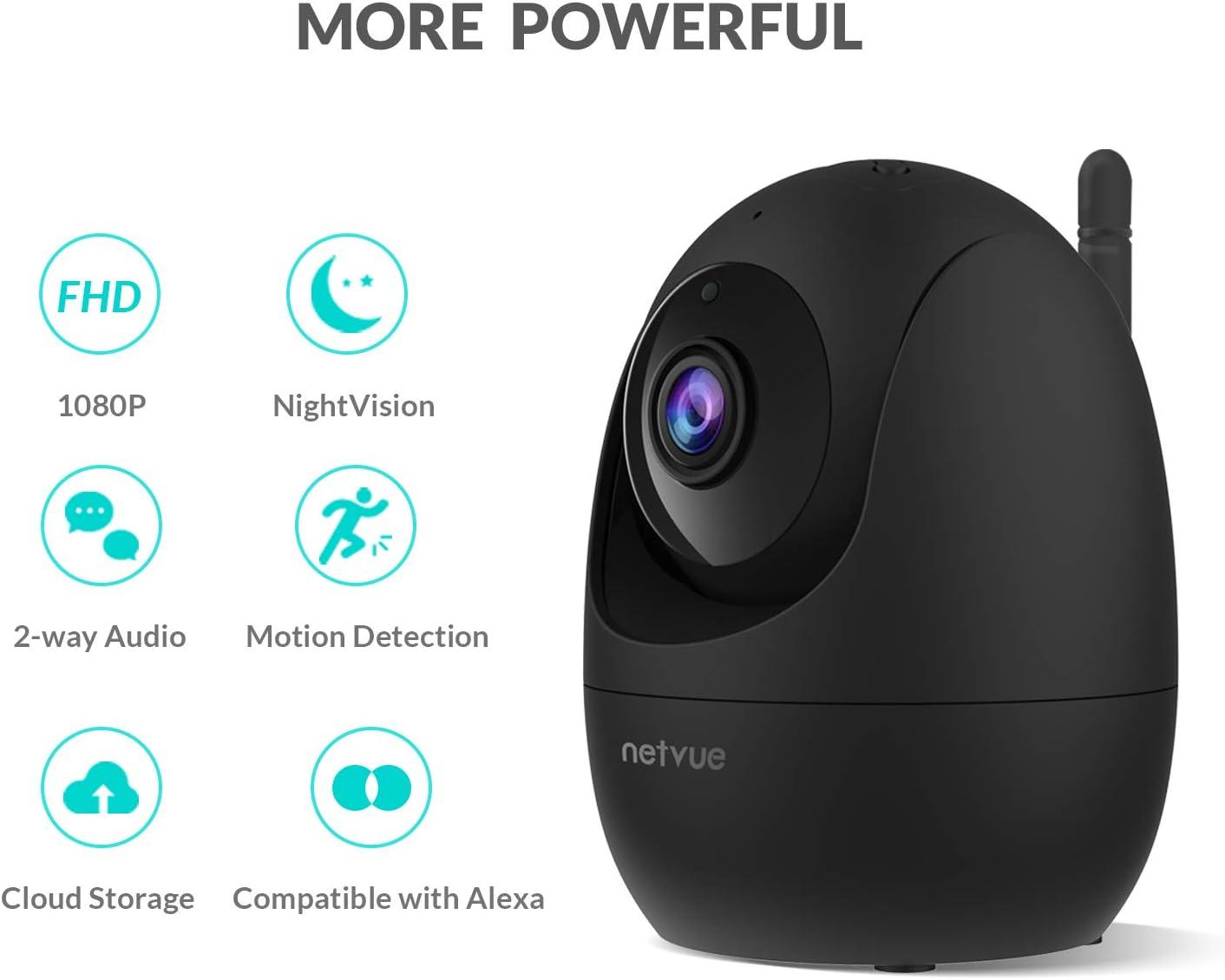 Visi/ón Nocturna C/ámara de Vigilancia WiFi Netvue C/ámara Domo 1080P Videovigilancia Inal/ámbrica Audio Bidireccional Detecci/ón de Movimiento Humano