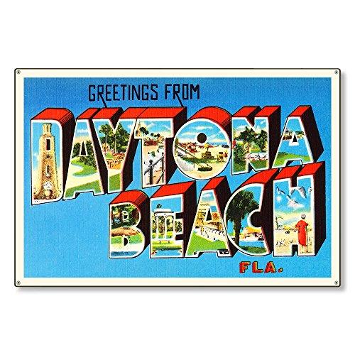 - Daytona Beach Florida FL Postcard Metal Sign Wall Decor Large Letter Travel Greetings Souvenir 36x24