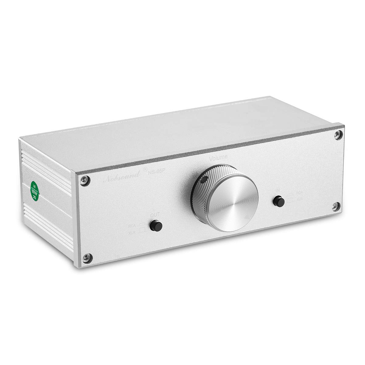 Nobsound Mini Fully-Balanced//Single-Ended Passive Preamp; Hi-Fi Pre-Amplifier; XLR//RCA Volume Controller for Active Monitor Speakers Silver