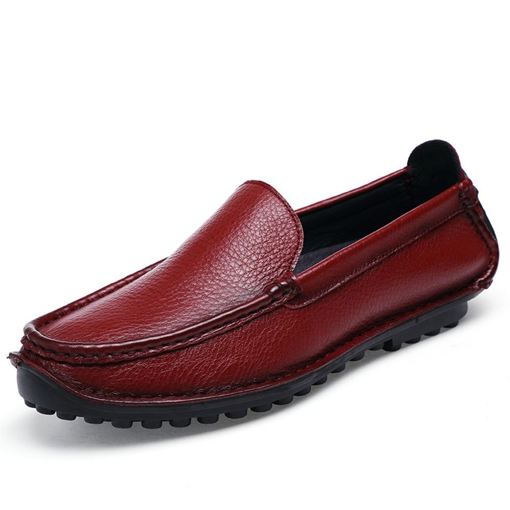 Zapatos de Cuero de Negocios para Hombres Mocasín Plano de Conducción Respirable 40 EU Rojo