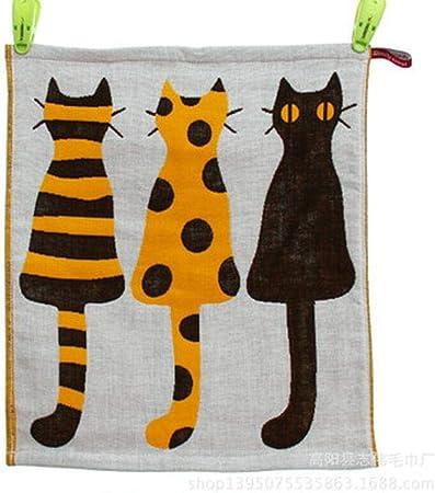 Zonster 3 Piezas de algodón de Tres Capas de Toallas Plaza Tejido Jacquard Gatos de la Historieta de la Toalla Que cuelga, los 34 * 40cm: Amazon.es: Hogar
