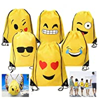 Dproptel 6 Pack Emoji Drawstring Backpack Bags Cute Designs, Christmas Gift Goody Birthday Party Favor Bags Supplies for Kids Teens Girls and Boys