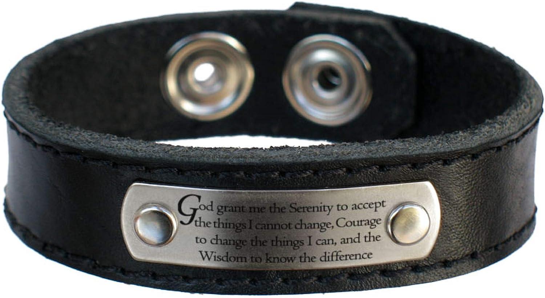 Amazon.com: Serenity pulsera de cuero de oración, grueso ...