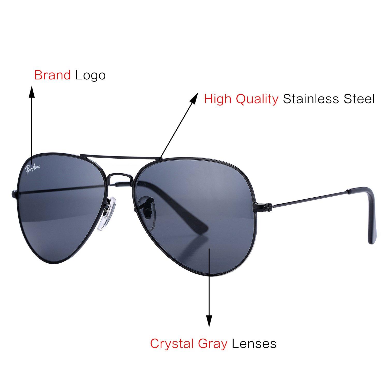 851c6939a6c78 Amazon.com  Pro Acme Aviator Crystal Lens Large Metal Sunglasses (Black  Frame Crystal Gray Lens)  Clothing