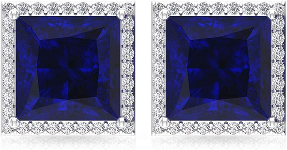 Aretes de zafiro azul de 4 quilates, pendientes de boda con piedras preciosas de corte princesa, certificado IGI, pendientes de declaración de diamantes, IJ-SI, tornillo hacia atrás